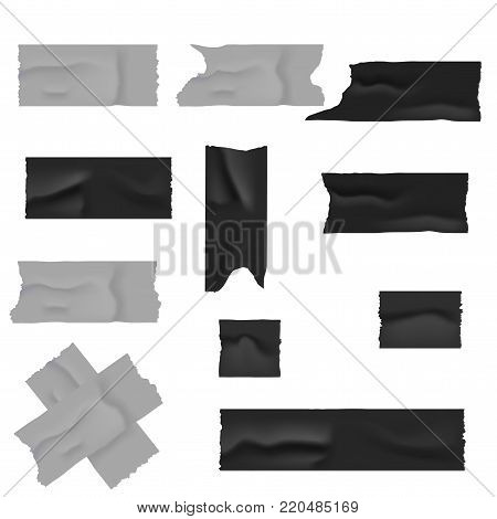 Realistic silver and black duct adhesive tape. Vector illustration.