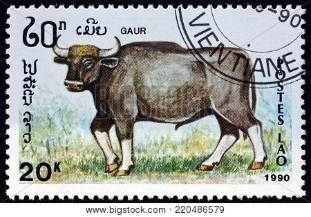 LAOS - CIRCA 1990: a stamp printed in Laos shows gaur, bos gaurus, is the largest extant bovine native to the Indian Subcontinent, circa 1990