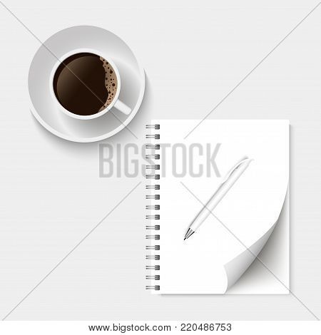 Coffee and blank memo with pen. Vector