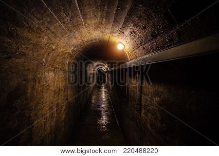 Dark corridor of old underground Soviet military bunker under artillery fortification., Sevastopol, Crimea.