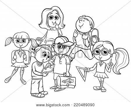 Cartoon Elementary School Children Coloring Book