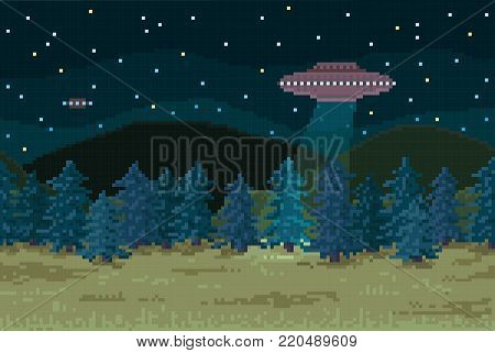 Pixel background. Night forest with a flying saucer. Seamless when docking horizontally