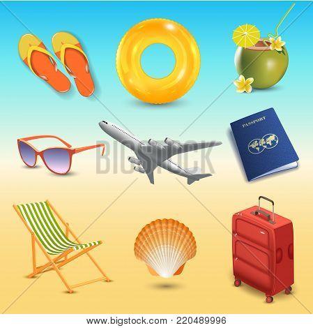 Realistic summer holidays seaside beach icons set isolated vector illustration. Travel emblem.