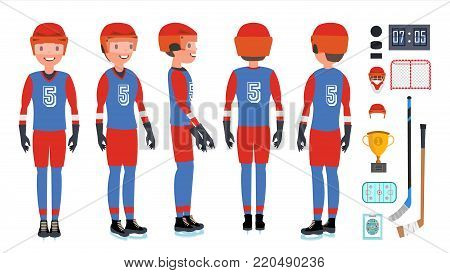 Classic Ice Hockey Player Vector. Set. Competition Game Concept. Isolated On White Cartoon Character Illustration