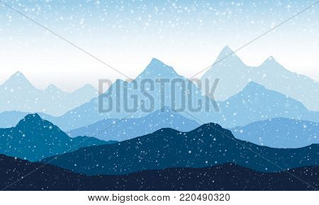 panoramic view of the mountain landscape with fog in the valley below with the snowfall - vector