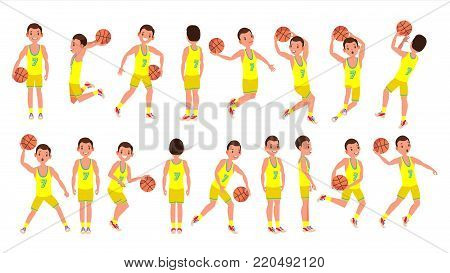 Modern Basketball Player Man Vector. Sports Concept. Running Jump With Ball. Sport Game Competition. Isolated On White Cartoon Character Illustration