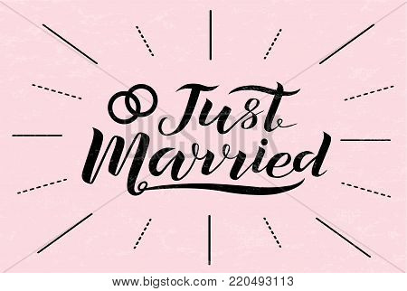 Hand drawn Just married lettering text on light pink background, vector illustration. Just married for logo, wedding, invitation, guest card and postcard. Wedding phrase. Just married calligraphy.