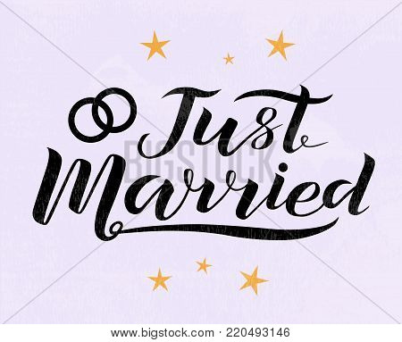 Hand drawn Just married lettering text on light violet background with stars, vector illustration. Just married for logo, wedding, invitation and postcard. Wedding phrase. Just married calligraphy.
