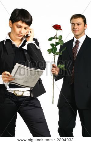 Man Tries To Present It A Flower