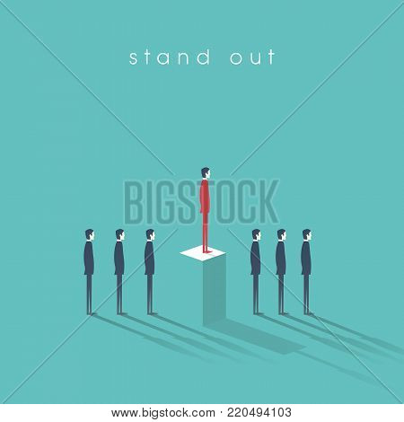 Standing out from the crowd business concept with businessmen in line. Talent or special skills symbol. Eps10 vector illustration.
