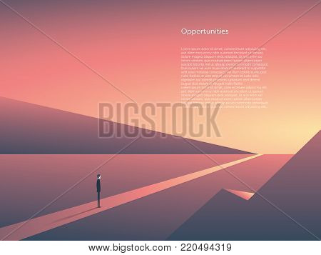 Business vector concept of new beginnings, opportunity and adventure. Symbol of career change, start, goals. Eps10 vector illustration.