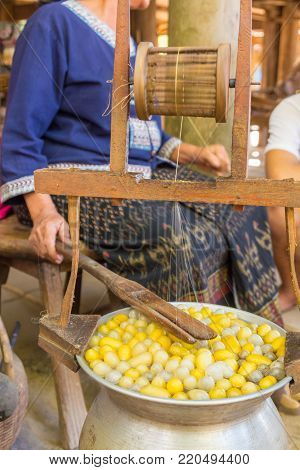 Silkworm Cocoon boil in Hot Water in Pot to Draw Raw Silk Thread to Reel.  This is Part of Silk Cloth Process.