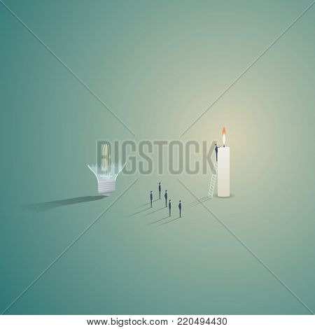 Think outside the box solution with broken lightbulb and candle burning and small team finding solution. Eps10 vector illustration.