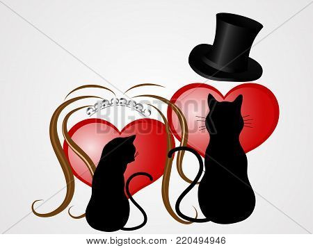 Two abstract black cats with wedding elements