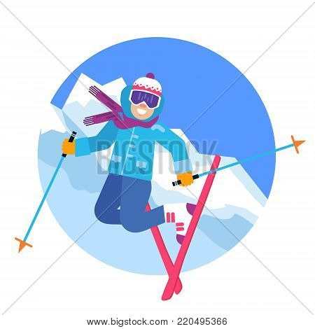 Jumping happy skier in the mountains vector illustration. Smiling skiing sportsmen character isolated