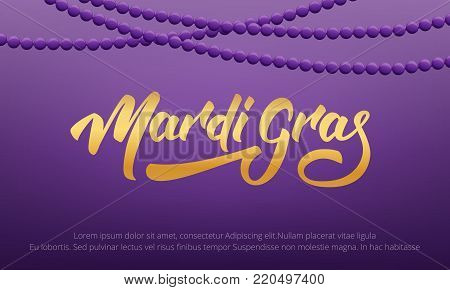 Mardi Gras. Background with Mardi Gras lettering and purple beads.