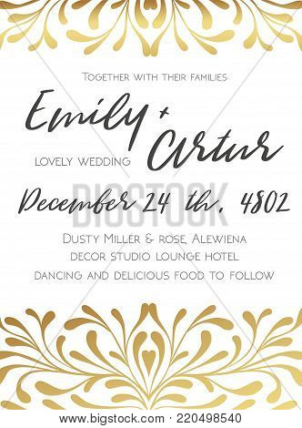 Wedding invite, invitation save the date card elegant design witn vector hand drawn lovely  golden graphic decorative flourish border frame: delicate swirls, ornatate vintage art elegant floral motif
