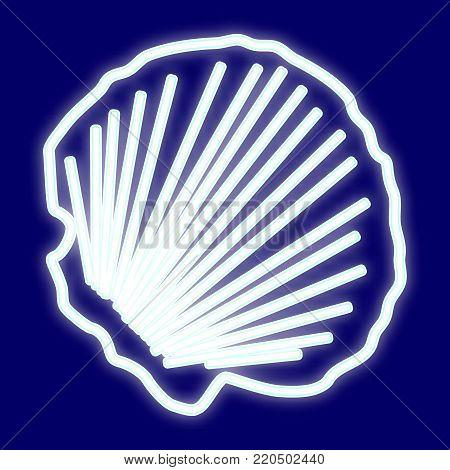 The picture of the clam shell. Icon with the effect of neon glow. Vector image.