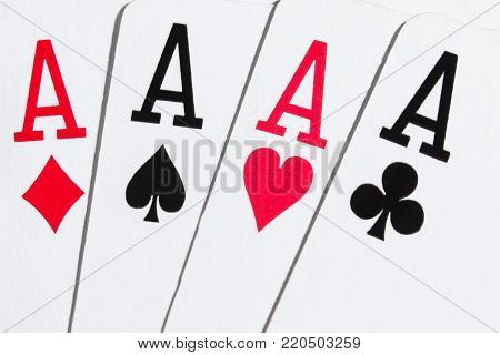 combination four ace popular card game poker