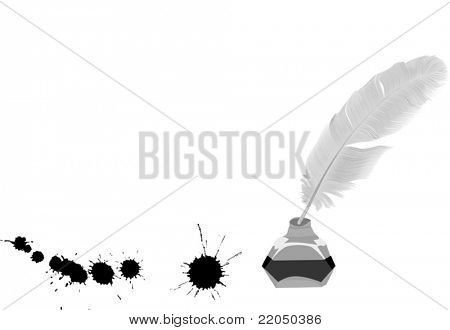 illustration with feather and ink blots isolated on white background