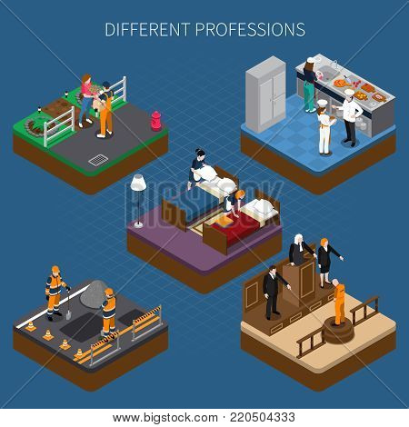 Professions uniform isometric people composition with figures of people in utility clothes working at different places vector illustration