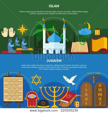 Two flat and horizontal religions flyer set or banners with islam and Judaism descriptions vector illustration