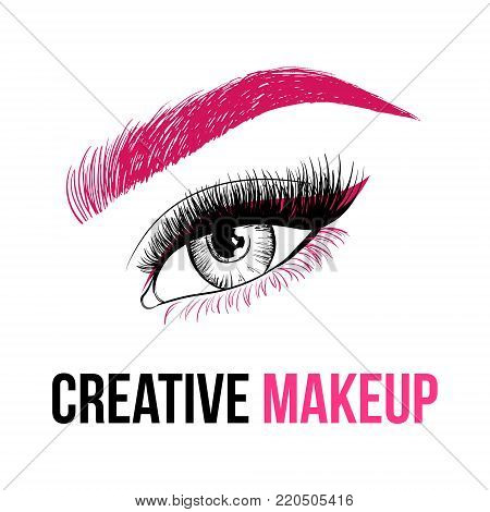 Beautiful Colorful Woman Eye With Creative Make-up. Pink Eyebrow, Long Pink Eyelashes And Unusual Ma