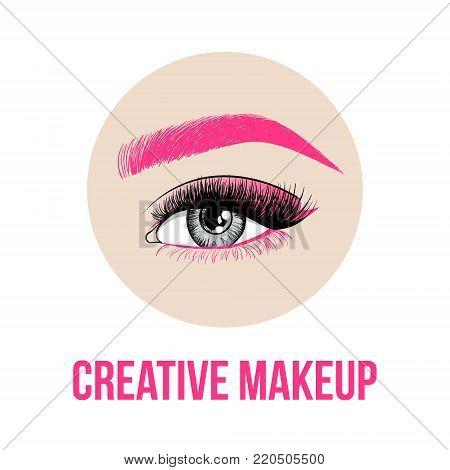Beautiful Colorful Woman Eye With Creative Make-up. Pink Eyebrow, Long Pink Eyelashes And Unusual Ma