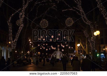 PALMA DE MALLORCA, BALEARIC ISLANDS, SPAIN - DECEMBER 5, 2017: Passeig des Born with Christmas lights at night on December 5, 2017 in Palma de Mallorca, Balearic islands, Spain.