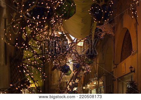 Passeig Des Born With Evening Christmas Light