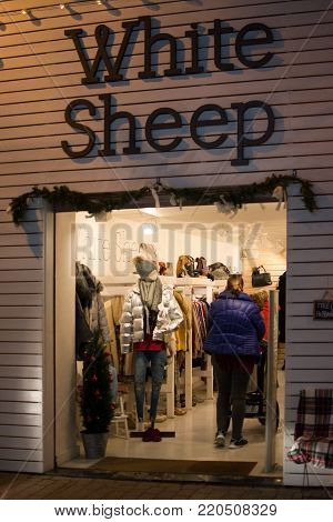 PALMA DE MALLORCA, BALEARIC ISLANDS, SPAIN - DECEMBER 5, 2017: White Sheep clothing store on Sindicat shopping street on December 5, 2017 in Palma de Mallorca, Balearic islands, Spain.