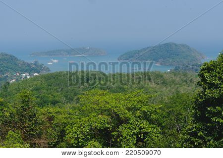 a beautiful landscape seaview of Laem Panwa Cape famous attractions in Phuket island, Thailand