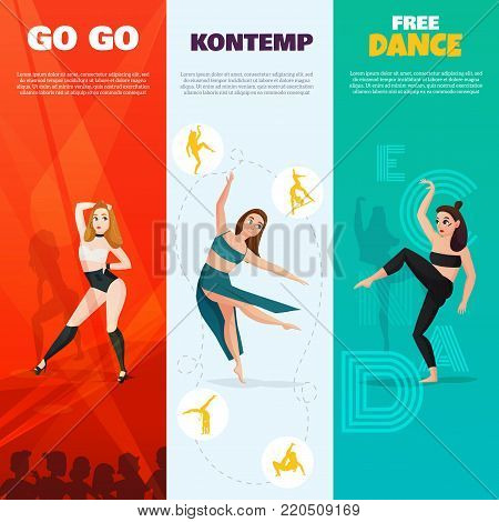 Set of vertical banners with modern dances including go-go, contemporary and free styles isolated vector illustration