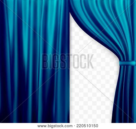 Naturalistic image of Curtain, open curtains Blue color on transparent background. Vector Illustration. EPS10
