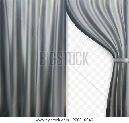 Naturalistic image of Curtain, open curtains Gray color on transparent background. Vector Illustration. EPS10