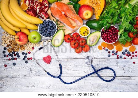 Selection of healthy food for  heart. Healthy food, diet and healthy lifestyle concept. Top view