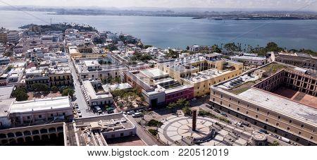 panoramic aerial fisheye view of the old city of San Juan, Puerto Rico.