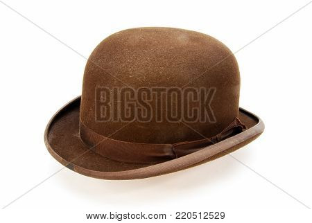A vintage Men Brown Derby Bowler Hat.