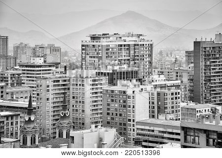 Santiago de Chile downtown covered by smog, Chile.