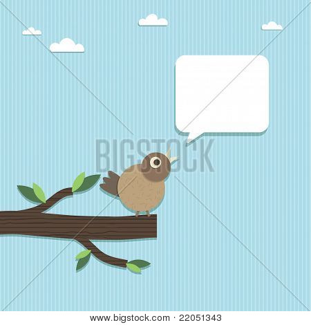 paper bird perched on paper branch with speech bubble ready for text poster