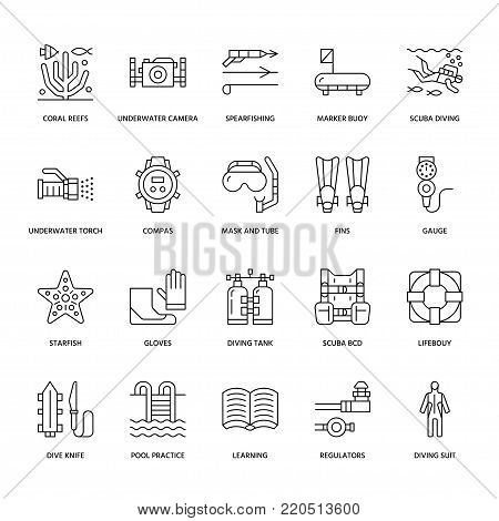 Scuba diving, snorkeling line icons. Spearfishing equipment, mask tube, flippers, swim suit. Water sport thin linear signs.