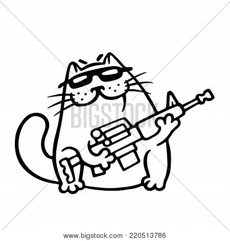 Mafia fighting cat with a submachine gun is ready for war. Cute mafiosi cartoon character. Vector Illustration. White color background.