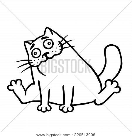 Drunk cartoon happy fat cat. Isolated vector illustration. Funny cute character. Black and white colors.