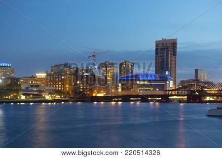 BOSTON - APR. 30, 2016: Boston TD Banknorth Garden arena at night, viewed from Charlestown Navy Yard, Boston, Massachusetts, USA.