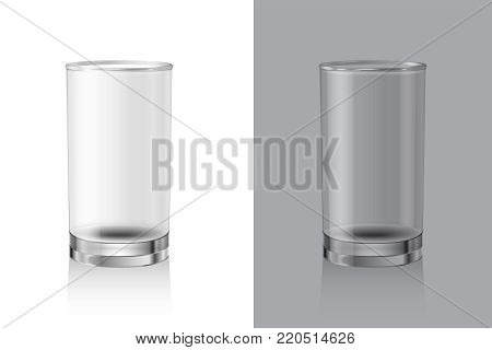 Glasses for drinks on white and gray background. Glassware Set. Empty realistic vector glass for milk, juice or water.