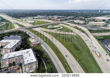 Aerial view of a highways, overpasses and ramps in the Chicago suburban setting of Deerfield, IL. USA
