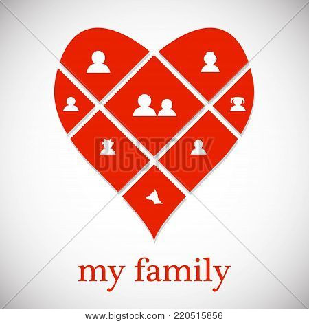 Family, happieness, home, fun, couple, family tree, family portrait.  Flat design vector illustration symbol concept. vector. Eps 10.
