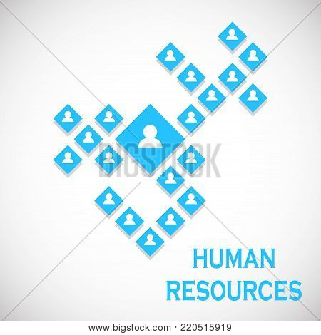 concept illustration of human resources management . Joint labor. Corporation. Control. Vector illustration. Eps 10.
