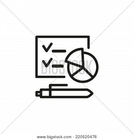 Icon of business analysis. Pie chart, pen, presentation. Report concept. Can be used for topics like financial expertise, annual report, forecast