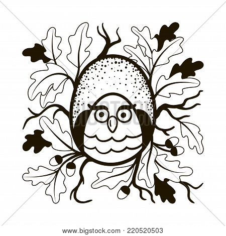 Hand-drawn owl sits in a hollow oak. Black and white vector illustration.